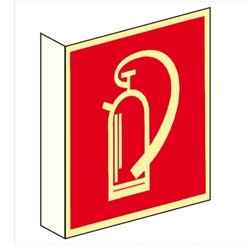 Brandschutzzeichen Brandschutzschild Feuerlöscher Fahnenschild Kunststoff nachleuchtend 148 x 148 mm #692410