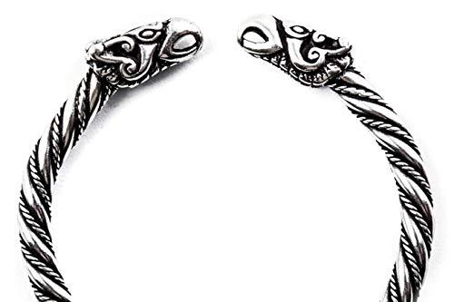 WINDALF Großer Männer Wikinger Armreif ODINS RABEN Ø 6.5 cm Vikings Armschmuck Hugin & Munin Odin-Schmuck 925 Sterlingsilber