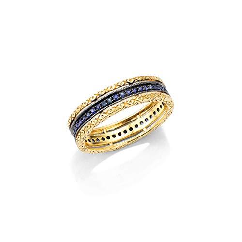 Daesar Anello Donna Matrimonio Oro Giallo 18K 0.18ct Anello Cavo Zaffiro Blu Rotonda Fedine Fidanzamento Donna Misura 8
