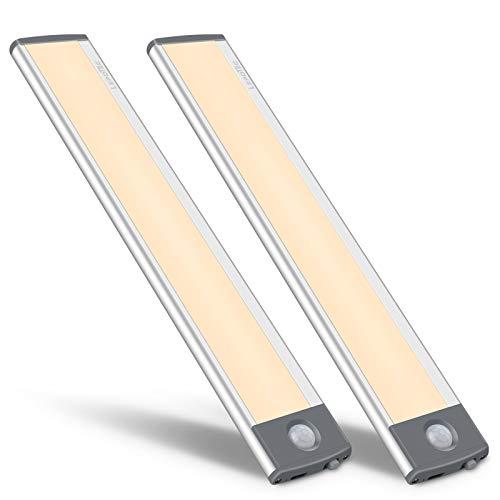 30LED Bewegungsmelder Schrankleuchten,USB Wiederaufladbar Batterie Nachtlicht Schranklicht, Kleiderschrank Lampen Unterbauleiste Beleuchtung Küchenlampen,Sensor Licht(2 Stück)