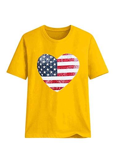CORAFRITZ Blusa casual de manga corta con cuello redondo y estampado de bandera de Estados Unidos para mujer