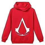HOOMOLO Assassin's Creed Pullover Unisex Stilvolle Pullover Langarmshirts for Jungen Mädchen Hoodie Impressum Sweatshirts Junge und Mädchen (Color : Red24, Size : Height-140cm(Tag 140))