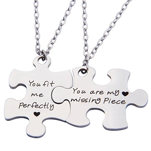 ENSIANTH Puzzle Jewelry You Are My Missing Piece,You Fit Me Perfectly Necklace and Keyring Set Of Two (Necklace)