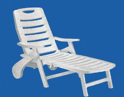 Best Premiere Rolling, Folding, Five Position Reclining Patio Sun Lounger Chair or Deck Chair - White - w
