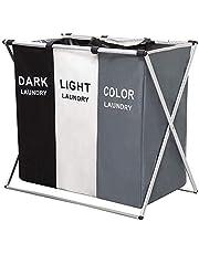Regndrottning 3-delad tvättpåse vikbar rullande tvättkorg, tvättuppsamlare med 3 avtagbara väskor, tvättvagn, robust metallram, kläder leksaksarrangör på hjul