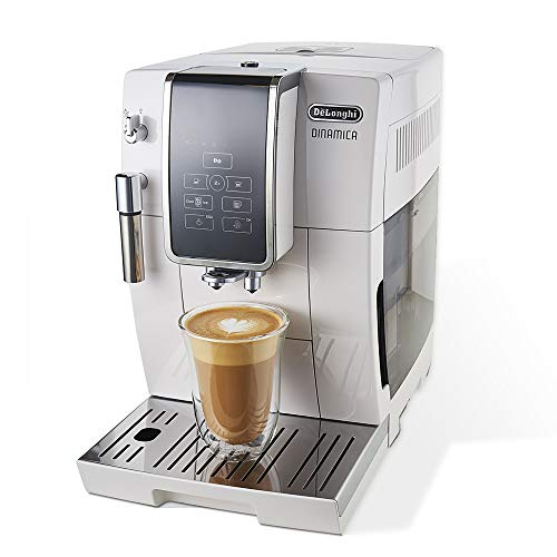 De'Longhi Dinamica Automatic Coffee & Espresso Machine, TrueBrew (Iced-Coffee), Burr Grinder + Descaling Solution, Cleaning Brush & Bean Shaped Icecube Tray, White, ECAM35020W