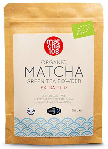 Matcha 108 Matcha Theepoeder, bio-ceremonie-kwaliteit voor extra mild theegenot, ideaal voor thee, smoothies en lattes…