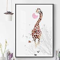 キャンバスプリントポスター北欧の寝室の絵画ピンクの泡キリン子供動物の壁アート保育園の子供赤ちゃんの部屋の装飾40x55cmフレームレス