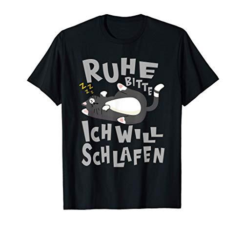 Offizielles Schlafshirt - Katzenshirt & Faule Katzen Comic T-Shirt
