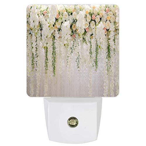 Lámpara de pared con sensor de flores blancas, luz nocturna LED de pared, sensor de atardecer a amanecer, para dormitorio, lactancia, pasillo, escaleras, decoración del hogar