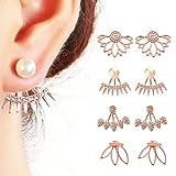 Juland 4 pares Pendientes de flor de loto huecos Pendientes de la chaqueta de los puños de la espalda Cristal simple Conjunto de aretes elegantes para mujeres niñas - Oro rosa