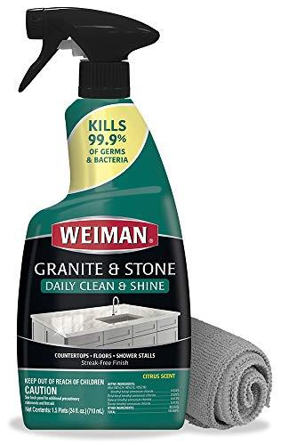 Weiman Disinfectant Granite Cleaner and Polish With Microfiber Cloth - Safely Clean Disinfect and Shine Granite Marble Soapstone Quartz Quartzite Slate Limestone Corian Laminate Tile Countertop