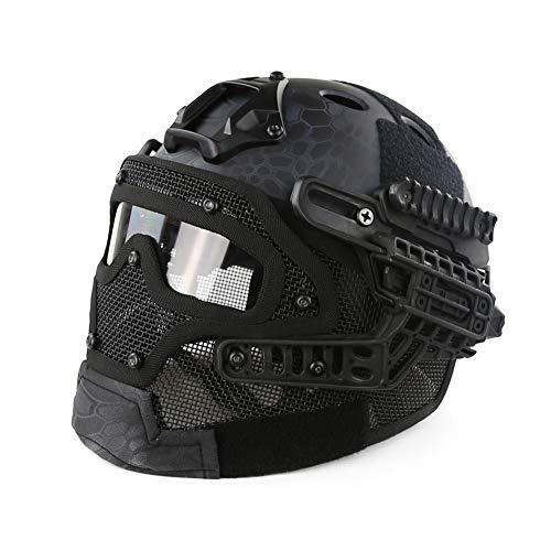 LHY HELMET Taktischer Helm PJ-Typ Fast Molle mit Maske und Schutzbrille Airsoft Paintball CS Outdoor G4 System,A