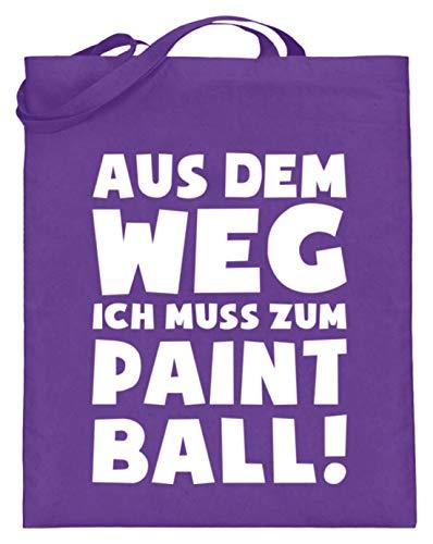 shirt-o-magic Paintball Softair: Muss zum Paintball! - Jutebeutel (mit langen Henkeln) -38cm-42cm-Violett
