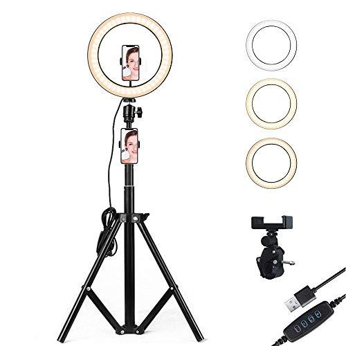 iCozzier - Kit di supporto per luci LED con filtro a colori, 3 modalità di illuminazione e 10 livelli di luminosità, ricevitore Bluetooth, selfie stick per fotocamera smartphone Youtube, colore: Nero