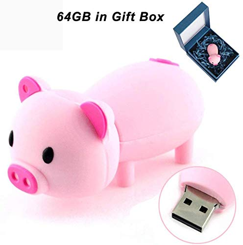 Chiavetta USB 2.0 da 32 GB a forma di cartone animato carino Memory Stick Thumb Drive per la memorizzazione di data rosa Maialino. 32 Gb
