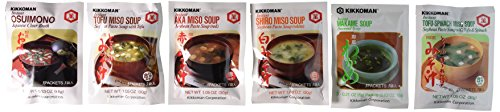 Kikkoman Instant Soup 6 Variety Pack - Miso-tofu , Tofu- Spinach Soup,...