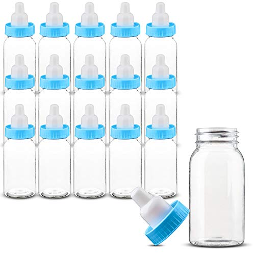 MT Products Blue 4.5 inches Tall (Including The Cover) Baby Bottles for Baby Shower | Milk Bottles for Parties, Adorable Baby Party Favors for Games or Decorations (36 Pieces)