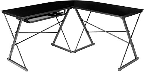 AmazonBasics Three Piece Corner/Gaming Desk - Black with Clear Glass, BIFMA Certified