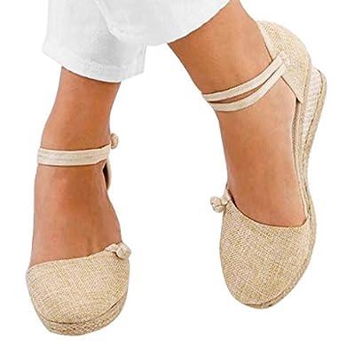 Women Sandal, Zyqzw Ladies Retro Linen Canvas Wedge Round Toe Casual Platform Shoes for Summer