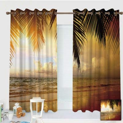 """ZXAWT Custom Design Curtains/Grommet Top Blackout Curtains/Thermal Insulated Curtain for Bedroom and Kitchen-Set of 2 Panels(Coconut Tree Scenery by The Sea 120"""" W107 L)"""