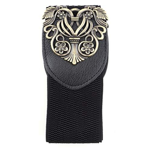 Dames Retro Vintage Design Bloem Elastische Stretch Gesp Brede Tailleband Taille Riemen Buikband voor Jurk Accessoires Zwart