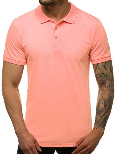 OZONEE Herren Poloshirt Polo Shirt Polohemd T-Shirt Tee Kragen Klassisches Hemd Casual Kurzarm Baumwolle Freizeithemd Kurzarmshirt Herrenhemd Breezy 171221 Hellrosa XL
