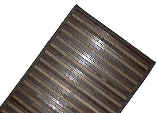 DEMONA Tappeto stuoia bamboo legno moderno pedana cucina degradè passatoia antiscivolo VARI COLORI E MISURE SPEDIZIONE GRATUITA (NMB-4 Marrone, 50X240CM)