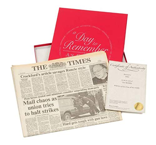 Signature gifts Genuine Original Archive Historic Newspaper From Your Special Day, with Personalised Name, Message and Gift Box - Unique and Very Rare Birthday