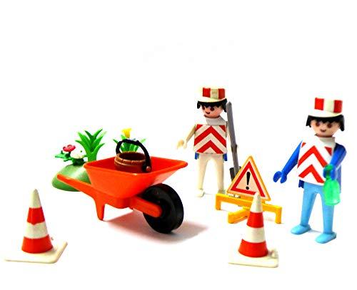 Playmobil ® Baustelle 2 Arbeiter Schubkarre Verkehrsschild 2 Pylonen