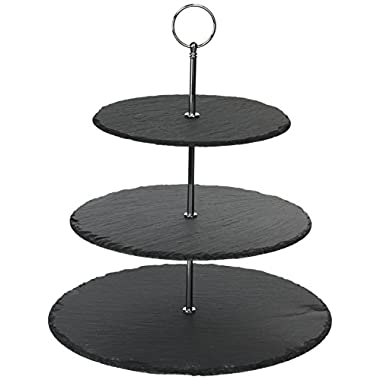 3 Tier Serving Tray Tiered Serving Stand | Slate Cheese Board | Host Parties, Display Cheese, Hors D'oeuvre, Charcuterie, and Dessert | Microfiber Cleaning Cloth and Soapstone Chalk Included