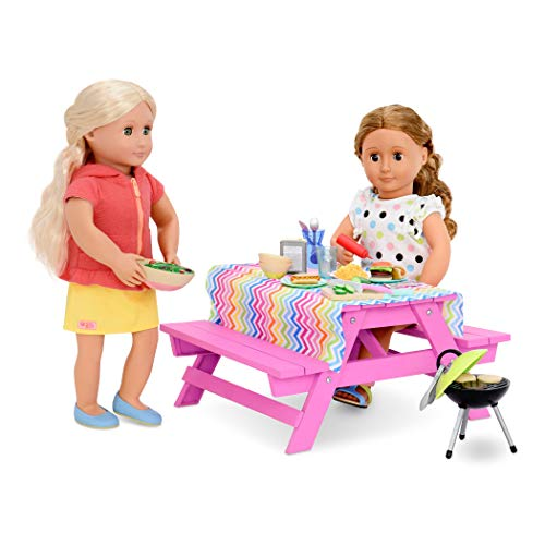 Our Generation Picknick Tisch für Puppen 46cm Picnic Table Set for Dolls 46 cm Multicoloured