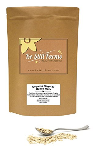 Be Still Farms Organic Regular Rolled Oats (5lb) Old Fashioned Oats - Unsweetened Oatmeal - Whole Rolled Oats - USDA Certified Organic - Naturally Gluten Free Oatmeal-Naturally Gluten Free Oats-Vegan Oats Low Carb