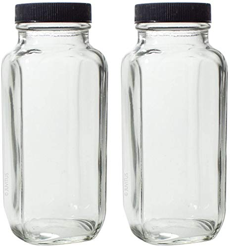 8 oz Clear Thick Plated Glass French Square Empty Bottle Jar with Plastic Lid (2 Pack) Perfect for Home, Travel, Juicing, Kombucha