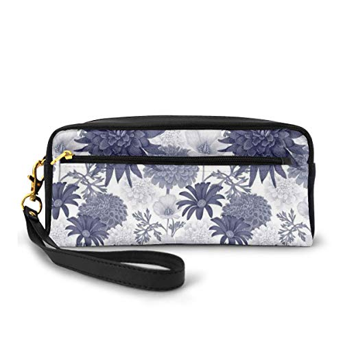 Pencil Case Pen Bag Pouch Stationary,Dotted Digital Paint of Dahlia Botanical Curved Rolled Wild Ray Blunts Design,Small Makeup Bag Coin Purse