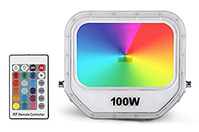 Samvol 100W RGB LED Flood Light, Color Changing Floodlight with Remote,Floodlight Indoor Outdoor with US 3-Plug, IP65 Waterproof Dimmable Spotlight for Garden Landscape Party Stage Lights