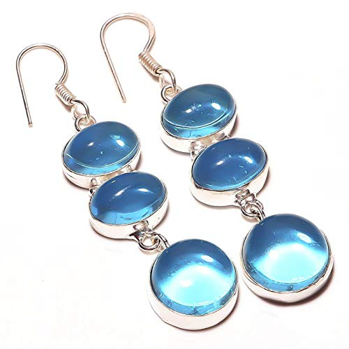Blue Topaz quartz Handmade EARRING 2.5' Long Silver Plated! Jewelry from...