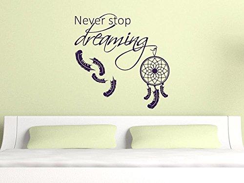 GRAZDesign Wanddeko Dekoration für Schlafzimmer Dreamcatcher, Wanddekoration Wandsticker Never Stop Dreaming, Wandtattoo Spruch auf englisch / 57x57cm / 070 schwarz