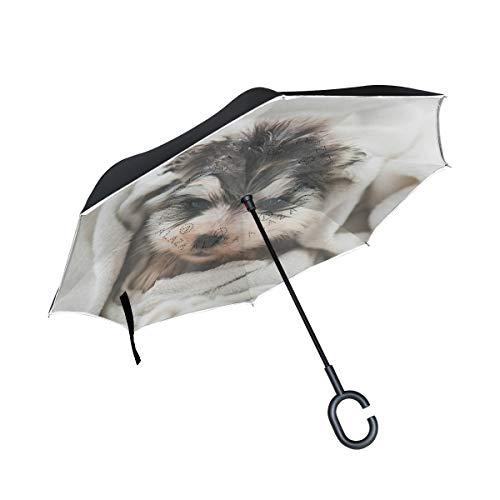 XiangHeFu Dubbele Laag Omgekeerde Omgekeerde Paraplu's Grappige Hond Puppy Handdoek Vouwen Winddichte UV Bescherming Grote Recht voor Auto met C-Shaped Handvat