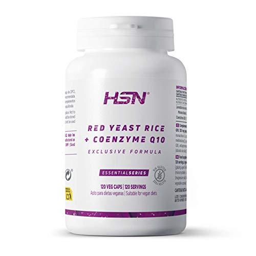 Levadura de Arroz Rojo con 10mg de Monacolina K + 50mg Coenzima Q10 de HSN | Alta Concentración | Reduce tu Colesterol de Manera Efectiva | Vegano, Sin Gluten, Sin Lactosa | 120 Cápsulas Vegetales