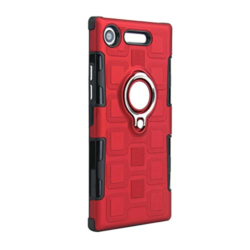 Capa de telefone criativa textura sólida carro magnético dois em um híbrido material TPU e PC capa de telefone anti- queda à prova de choque para Sony Xperia XZ1 (vermelho)