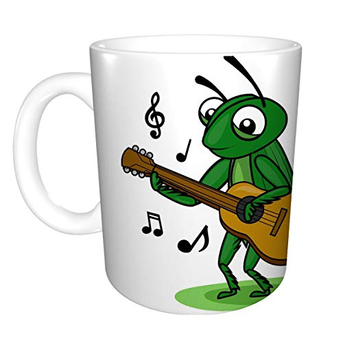 Coffee Mug Coffee Mug Tea Cup White Ceramic cricket music guitar grasshopper playing Retro