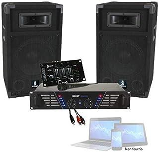 PACK SONO DJ 480W sonorisation avec Ampli + Enceintes + Table de Mixage + Micro + Câble PA DJ SONO MIX LIGHT Anniversaire ...
