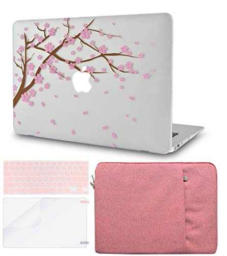LuvCase 4in1 LaptopCase for MacBook Air 13 Inch(Touch ID)(2020) A2179 Retina Display HardShellCover, Sleeve, Keyboard Cover & Screen Protector (Cartoon Cherry Blossom)