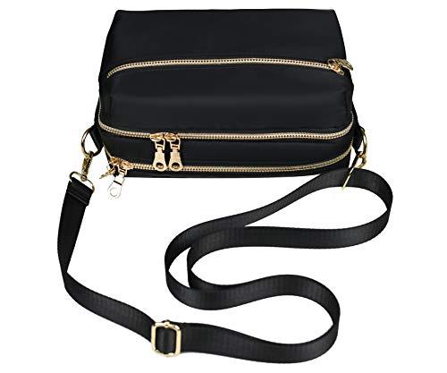 YANAIER Damen Umhängetasche Klein Mini Bag Sling Tasche Handtasche Frauen Mädchen Teenager Uni Tasche mit Vielen Praktischen Taschen Nylon Citytasche Schultertasche Schwarz