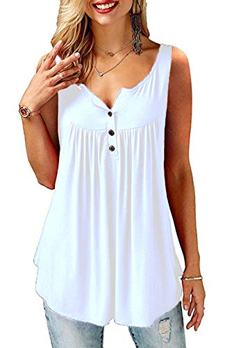Amoretu  T-Shirt Damen V-Ausschnitt Knopfleiste Bluse Solide Tunika Sommer Tops, S, C-weiß