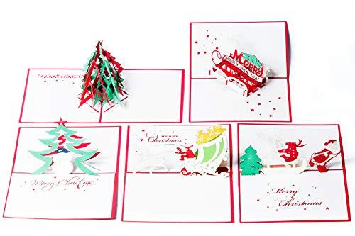 Pop Up Karten für Kinder. Jungs werden diese 3D Geburtstagskarten lieben (4er Pack-Mischpackung) (5 Pack Christmas- Assorted)