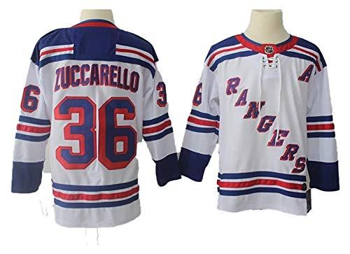 Mats Zuccarello # 36 New York Rangers Eishockey Trikots NHL Männer Sweatshirts atmungsaktiv T-Shirt (Color : White, Size : XX-Large)