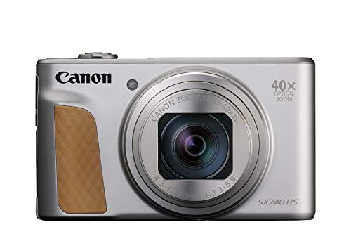 Canon Powershot SX740 HS - Cámara Compacta de 20.3 MP (40 x Zoom Óptico, 4K UHD, DIGIC 8, 5 Ejes, LCD Desplegable, 10 fps, Bluetooth, WiFi) Plata, 110.1 x 63.8 x 39.9 mm