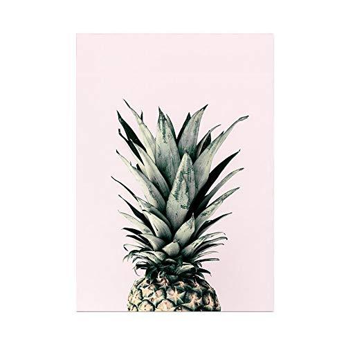 Hochwertiger Leinwanddruck mit Ananas Rosa Motiv A4 21x30cm (ohne Rahmen) - Kunstdruck Pineapple moderne Vintage Poster Obstmotiv Print Leinwandbild Leinwand Plakat Deko Bild DIN A4
